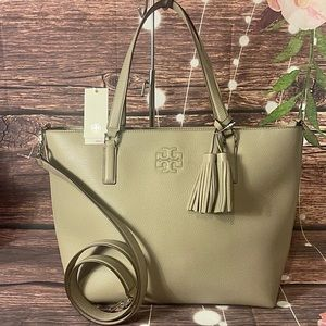 🤍TORY BURCH 🤍 FRENCH GREY THEA ZIP LEATHER TOTE